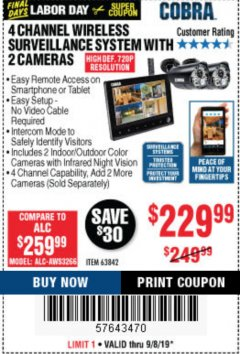 Harbor Freight Coupon 4 CHANNEL WIRELESS SURVEILLANCE SYSTEM WITH 2 CAMERAS Lot No. 63842 Expired: 9/8/19 - $229.99