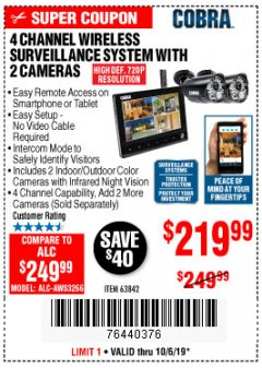 Harbor Freight Coupon 4 CHANNEL WIRELESS SURVEILLANCE SYSTEM WITH 2 CAMERAS Lot No. 63842 Expired: 10/6/19 - $219.99