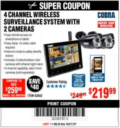 Harbor Freight Coupon 4 CHANNEL WIRELESS SURVEILLANCE SYSTEM WITH 2 CAMERAS Lot No. 63842 Expired: 10/27/19 - $219.99