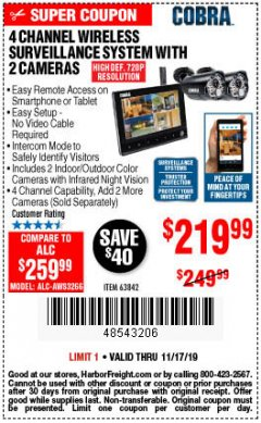 Harbor Freight Coupon 4 CHANNEL WIRELESS SURVEILLANCE SYSTEM WITH 2 CAMERAS Lot No. 63842 Expired: 11/17/19 - $219.99