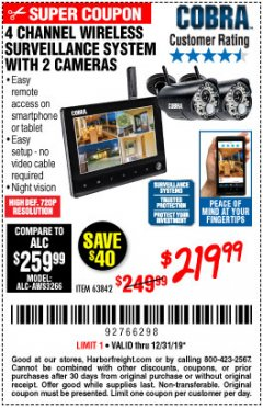 Harbor Freight Coupon 4 CHANNEL WIRELESS SURVEILLANCE SYSTEM WITH 2 CAMERAS Lot No. 63842 Expired: 12/31/19 - $219.99