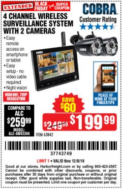Harbor Freight Coupon 4 CHANNEL WIRELESS SURVEILLANCE SYSTEM WITH 2 CAMERAS Lot No. 63842 Expired: 12/8/19 - $199.99