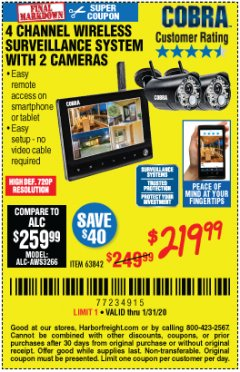 Harbor Freight Coupon 4 CHANNEL WIRELESS SURVEILLANCE SYSTEM WITH 2 CAMERAS Lot No. 63842 Expired: 1/31/20 - $219.99