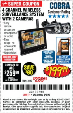 Harbor Freight Coupon 4 CHANNEL WIRELESS SURVEILLANCE SYSTEM WITH 2 CAMERAS Lot No. 63842 Valid Thru: 3/8/20 - $199.99