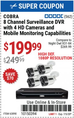 Harbor Freight Coupon 4 CHANNEL WIRELESS SURVEILLANCE SYSTEM WITH 2 CAMERAS Lot No. 63842 Valid Thru: 7/5/20 - $199.99