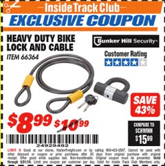 Harbor Freight ITC Coupon HEAVY DUTY BIKE LOCK AND CABLE  Lot No. 66364 Expired: 8/31/18 - $8.99