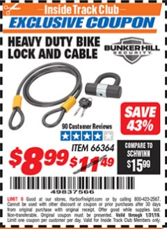 Harbor Freight ITC Coupon HEAVY DUTY BIKE LOCK AND CABLE  Lot No. 66364 Expired: 1/31/19 - $8.99