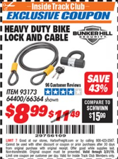 Harbor Freight ITC Coupon HEAVY DUTY BIKE LOCK AND CABLE  Lot No. 66364 Expired: 3/31/19 - $8.99