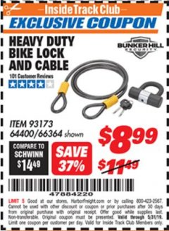 Harbor Freight ITC Coupon HEAVY DUTY BIKE LOCK AND CABLE  Lot No. 66364 Expired: 5/31/19 - $8.99
