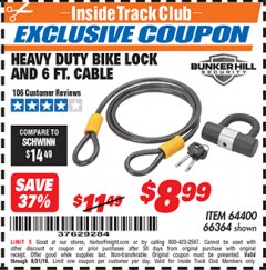Harbor Freight ITC Coupon HEAVY DUTY BIKE LOCK AND CABLE  Lot No. 66364 Expired: 8/31/19 - $8.99