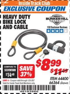 Harbor Freight ITC Coupon HEAVY DUTY BIKE LOCK AND CABLE  Lot No. 66364 Expired: 1/31/20 - $8.99