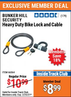 Harbor Freight ITC Coupon HEAVY DUTY BIKE LOCK AND CABLE  Lot No. 66364 Expired: 2/25/21 - $8.99