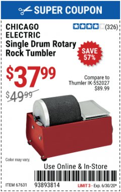 Harbor Freight Coupon SINGLE DRUM ROTARY ROCK TUMBLER Lot No. 67631 EXPIRES: 6/30/20 - $37.99