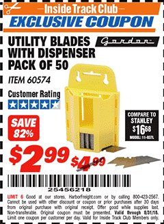 Harbor Freight ITC Coupon UTILITY BLADES WITH DISPENSER PACK OF 50 Lot No. 60574 Expired: 8/31/18 - $2.99