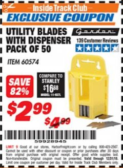 Harbor Freight ITC Coupon UTILITY BLADES WITH DISPENSER PACK OF 50 Lot No. 60574 Expired: 12/31/18 - $2.99