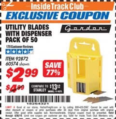 Harbor Freight ITC Coupon UTILITY BLADES WITH DISPENSER PACK OF 50 Lot No. 60574 Expired: 4/30/19 - $2.99