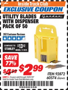 Harbor Freight ITC Coupon UTILITY BLADES WITH DISPENSER PACK OF 50 Lot No. 60574 Expired: 10/31/19 - $2.99