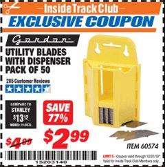 Harbor Freight ITC Coupon UTILITY BLADES WITH DISPENSER PACK OF 50 Lot No. 60574 Expired: 12/31/19 - $2.99