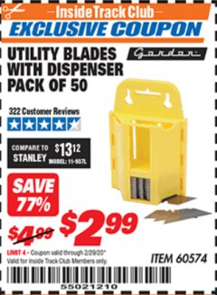 Harbor Freight ITC Coupon UTILITY BLADES WITH DISPENSER PACK OF 50 Lot No. 60574 Expired: 2/29/20 - $2.99