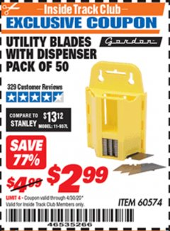 Harbor Freight ITC Coupon UTILITY BLADES WITH DISPENSER PACK OF 50 Lot No. 60574 Expired: 4/30/20 - $2.99