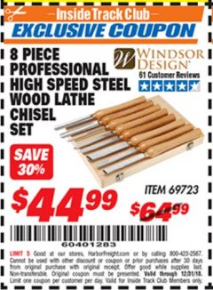 Harbor Freight ITC Coupon 8 PIECE PROFESSIONAL HIGH SPEED STEEL WOOD LATHE CHISEL SET Lot No. 69723 Expired: 12/31/18 - $44.99