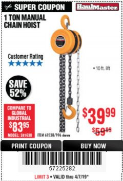 Harbor Freight Coupon 1 TON CHAIN HOIST Lot No. 69338/996 Expired: 4/7/19 - $39.99