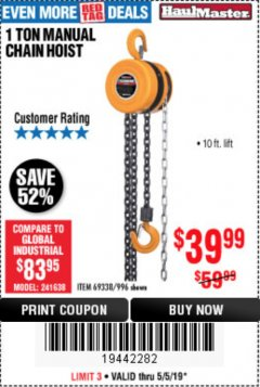 Harbor Freight Coupon 1 TON CHAIN HOIST Lot No. 69338/996 Expired: 5/5/19 - $39.99