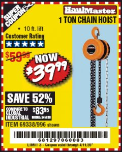 Harbor Freight Coupon 1 TON CHAIN HOIST Lot No. 69338/996 Valid: 2/4/20 - 4/11/20 - $39.99
