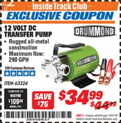 Harbor Freight ITC Coupon 12 VOLT DC TRANSFER PUMP Lot No. 63324 Expired: 12/31/19 - $34.99