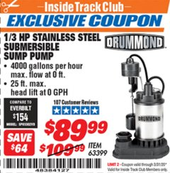 Harbor Freight ITC Coupon 1/3 HP SUBMERSIBLE SUMP PUMP WITH HEAVY DUTY VERTICAL FLOAT SWITCH  Lot No. 63399 Expired: 3/31/20 - $89.99