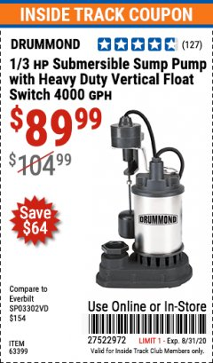 Harbor Freight ITC Coupon 1/3 HP SUBMERSIBLE SUMP PUMP WITH HEAVY DUTY VERTICAL FLOAT SWITCH  Lot No. 63399 Expired: 8/31/20 - $89.99