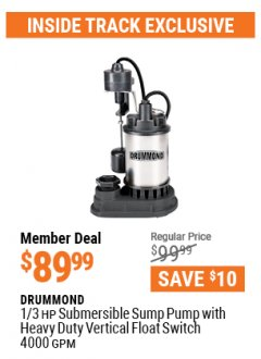 Harbor Freight ITC Coupon 1/3 HP SUBMERSIBLE SUMP PUMP WITH HEAVY DUTY VERTICAL FLOAT SWITCH  Lot No. 63399 Valid Thru: 4/29/21 - $89.99