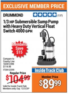 Harbor Freight Coupon 1/3 HP SUBMERSIBLE SUMP PUMP WITH HEAVY DUTY VERTICAL FLOAT SWITCH  Lot No. 63399 Expired: 12/3/20 - $89.99