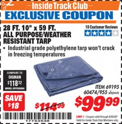 "Harbor Freight ITC Coupon 28 FT. 10"" X 59 FT. ALL PURPOSE/WEATHER RESISTANT TARP Lot No. 69195 Expired: 6/30/20 - $99.99"