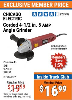 "Harbor Freight ITC Coupon 4-1/2"" HEAVY DUTY ANGLE GRINDER Lot No. 91223/60372 Expired: 10/31/20 - $16.99"
