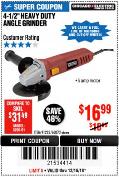 "Harbor Freight Coupon 4-1/2"" HEAVY DUTY ANGLE GRINDER Lot No. 91223/60372 Expired: 12/16/18 - $16.99"