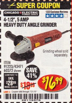 "Harbor Freight Coupon 4-1/2"" HEAVY DUTY ANGLE GRINDER Lot No. 91223/60372 Expired: 7/31/19 - $16.99"