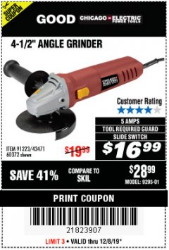 "Harbor Freight Coupon 4-1/2"" HEAVY DUTY ANGLE GRINDER Lot No. 91223/60372 Expired: 12/8/19 - $16.99"