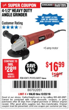 "Harbor Freight Coupon 4-1/2"" HEAVY DUTY ANGLE GRINDER Lot No. 91223/60372 Expired: 12/22/19 - $16.99"