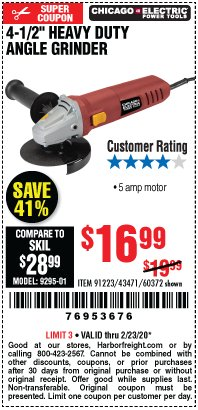 "Harbor Freight Coupon 4-1/2"" HEAVY DUTY ANGLE GRINDER Lot No. 91223/60372 Expired: 2/23/20 - $16.99"