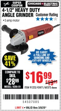 "Harbor Freight Coupon 4-1/2"" HEAVY DUTY ANGLE GRINDER Lot No. 91223/60372 Expired: 3/8/20 - $16.99"