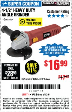 "Harbor Freight Coupon 4-1/2"" HEAVY DUTY ANGLE GRINDER Lot No. 91223/60372 Expired: 6/30/20 - $16.99"