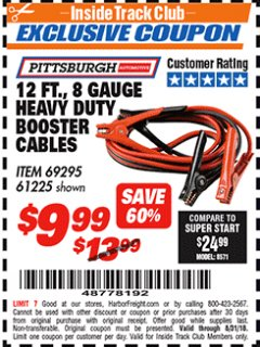 Harbor Freight ITC Coupon 12 FT., 8 GAUGE HEAVY DUTY BOOSTER CABLES Lot No. 69295/61225 Expired: 8/31/18 - $9.99