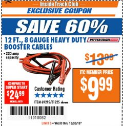 Harbor Freight ITC Coupon 12 FT., 8 GAUGE HEAVY DUTY BOOSTER CABLES Lot No. 69295/61225 Expired: 10/30/18 - $9.99
