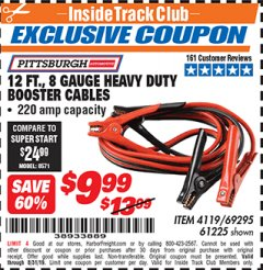 Harbor Freight ITC Coupon 12 FT., 8 GAUGE HEAVY DUTY BOOSTER CABLES Lot No. 69295/61225 Expired: 8/31/19 - $9.99