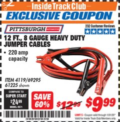 Harbor Freight ITC Coupon 12 FT., 8 GAUGE HEAVY DUTY BOOSTER CABLES Lot No. 69295/61225 Expired: 1/31/20 - $9.99