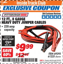 Harbor Freight ITC Coupon 12 FT., 8 GAUGE HEAVY DUTY BOOSTER CABLES Lot No. 69295/61225 Expired: 3/31/20 - $9.99