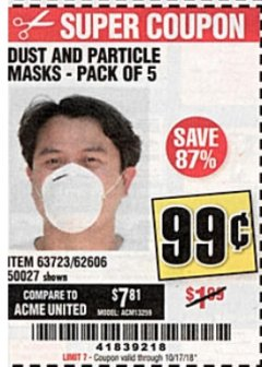 Harbor Freight Coupon DUST AND PARTICLE MASK 5 PACK Lot No. 62606/63723/50027 Expired: 10/17/18 - $0.99