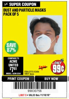 Harbor Freight Coupon DUST AND PARTICLE MASK 5 PACK Lot No. 62606/63723/50027 Expired: 11/18/18 - $0.99