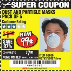 Harbor Freight Coupon DUST AND PARTICLE MASK 5 PACK Lot No. 62606/63723/50027 Expired: 5/4/19 - $0.99